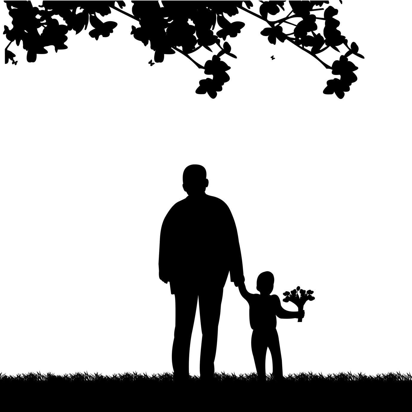 Grandpa Walks With A Grandson With Flowers In The Park One In The